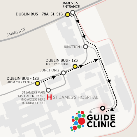 Map of St James's when arriving by bus